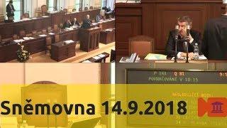 Sněmovna 14.9.2018 - volební zákony, pomoc v hmtné nouzi, DPH