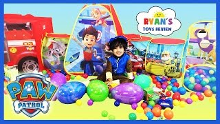 GIANT PAW PATROL SURPRISE TENT with Paw Patrol Toys Easter Egg Hunt Surprise Eggs Challenge for Kids