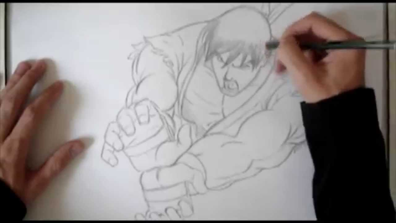 Street Fighter Ryu Hadouken Live Drawing Youtube