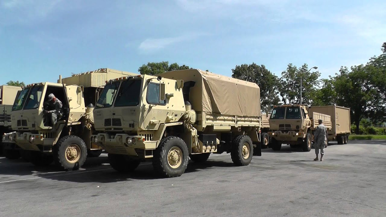 Us Army Military Vehicle Convoy In Interstate Rest Area