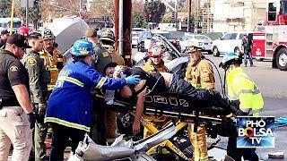 Tai nạn giao thông: Cận cảnh lính cứu hỏa, cảnh sát Mỹ cắt xe cứu người