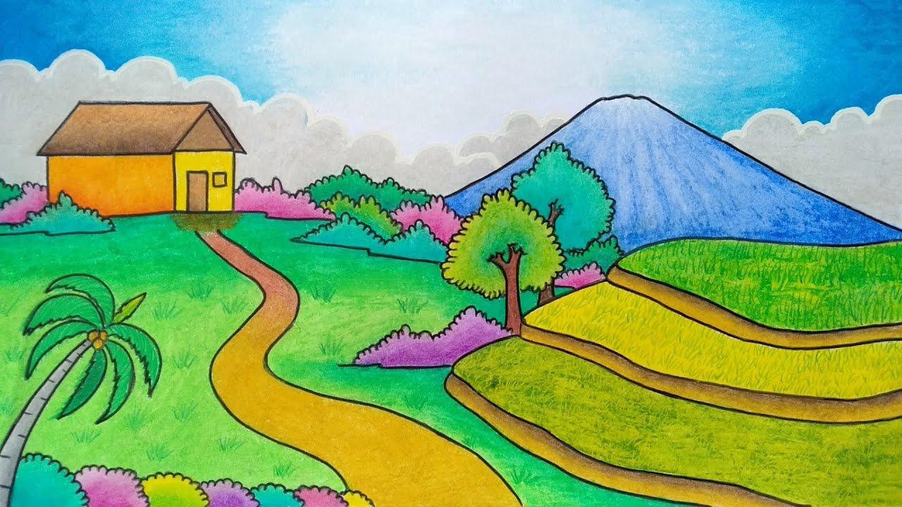 Menggambar Pemandangan Gunung Menggambar Pemandangan Sawah Menggambar Gunung Youtube