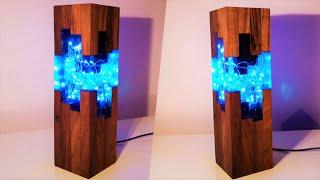 Handmade Blue Epoxy resin Night Lamp - Resin Art