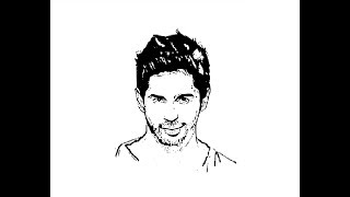 How to Draw Sidharth Malhotra face pencil drawing step by step