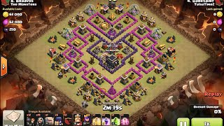 "Golem Witch Wizard Pekka (GoWiWiPe) 3 star clan war attack at ""V Moats"" Th9 base - clash of clans"