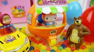 Hello Kitty Orange car and Baby doll Orbeez surprise eggs toys play