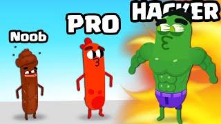 Training a NOOB vs PRO vs HACKER SAUSAGE in Wacky Run (ALL LEVELS)