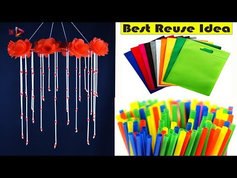 Waste Shopping Bag Beautiful Wind Chime | DIY Straws Jhumar | DIY Jhumar out of beads