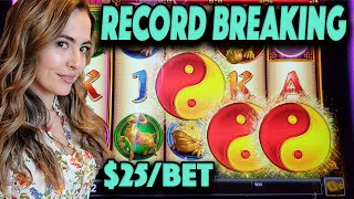 BROKE My HANDPAY RECORD on Jinse Dao Slot Machine on $25/Spin in Las Vegas!
