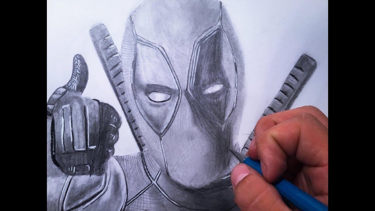 Drawing of deadpool in pencil deadpool 2 marvel