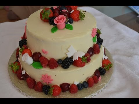two-tiered-buttercream-cake-with-fruit-and-flowers---easy-diy-wedding-cake-idea