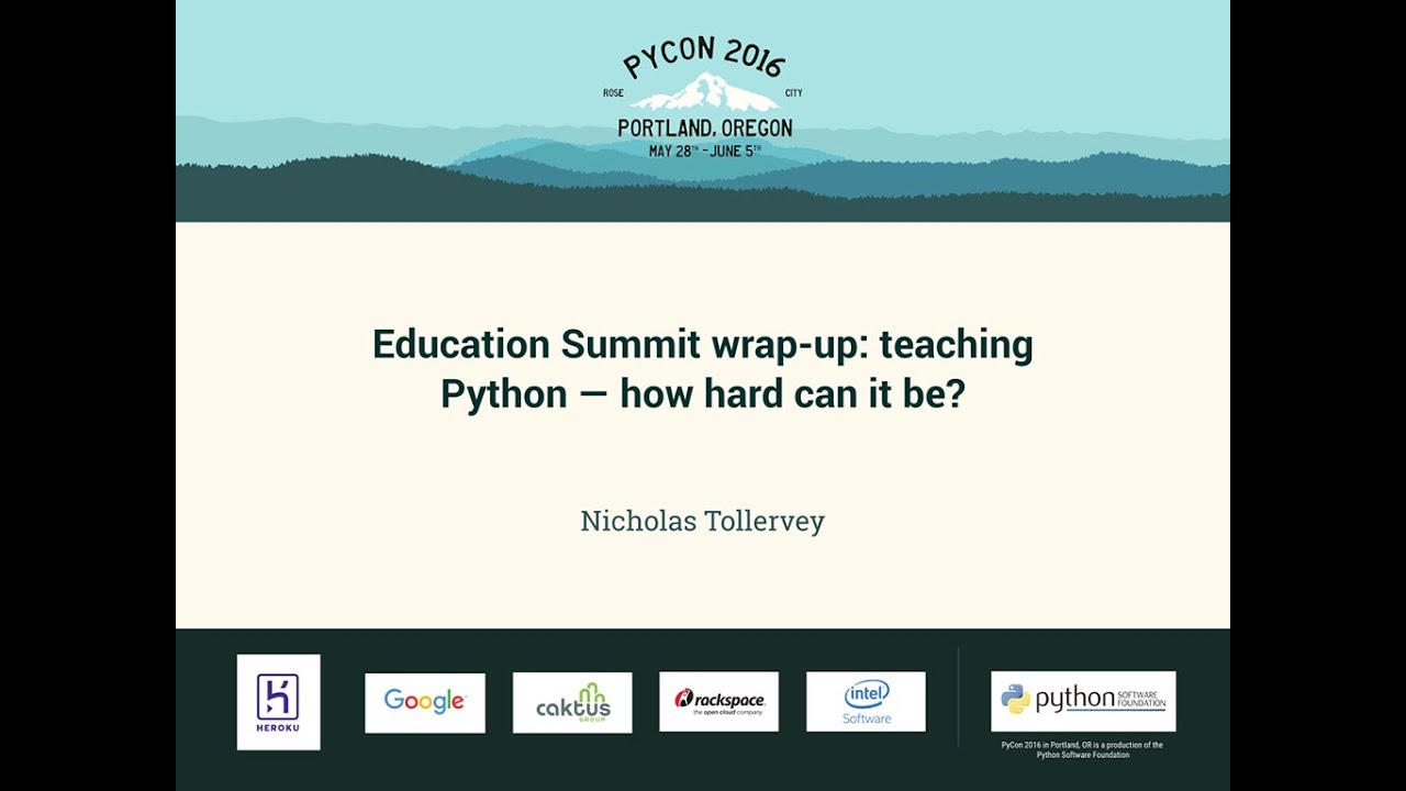 Image from Education Summit wrap-up: teaching Python — how hard can it be?