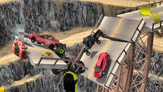 Hello, this is BeamNG.Drive damaged bridge collapsed under a pile o...