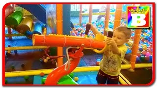 Bogdan shoot with colored pit ball. Indoor playground at PALAS MALL.  Fun for kids at Bogdan's Show
