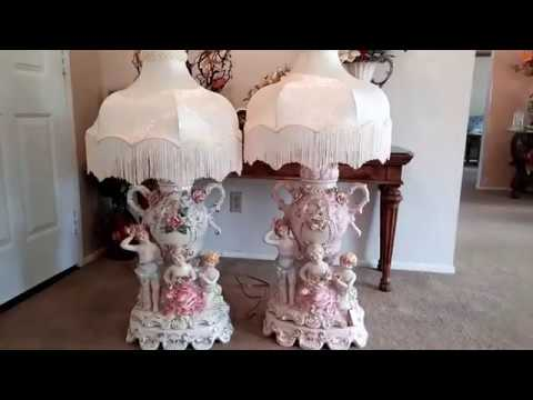 Capodimonte rare vintage antique collector porcelain Lamp Italy 03