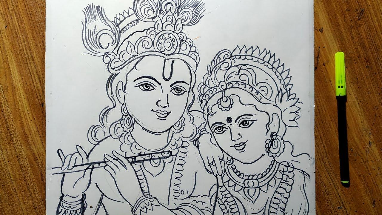 Dolyatra Special Radha Krishna Drawing How To Draw Lord Radha Krishna Easy Line Drawing Face Draw Youtube