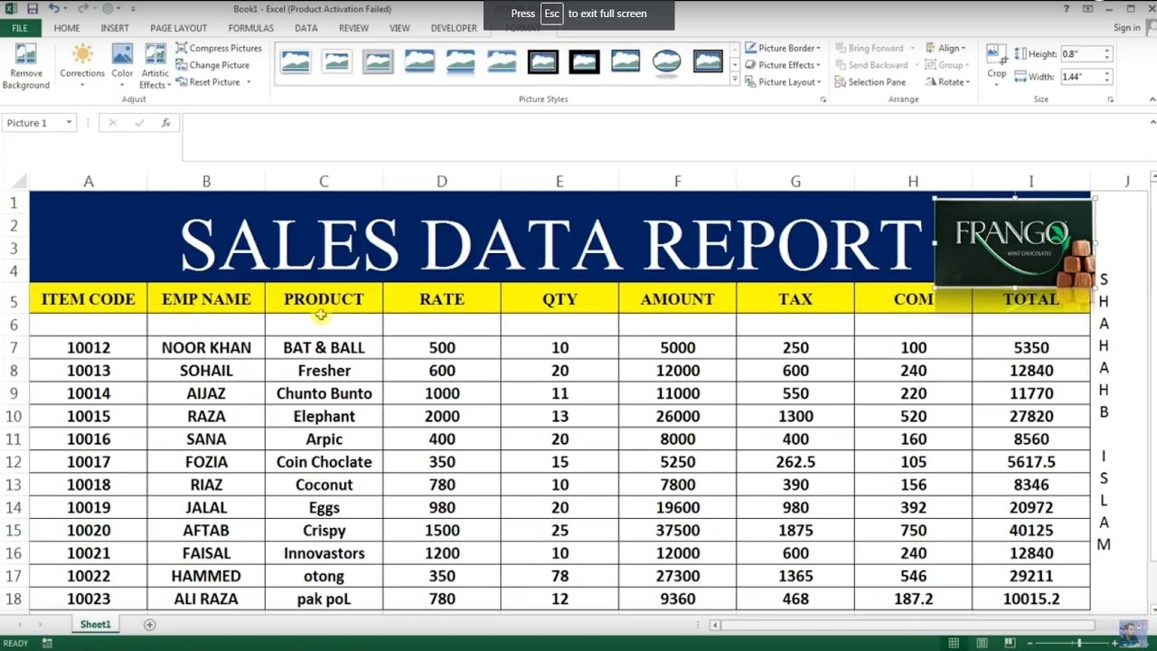 sales reports excel