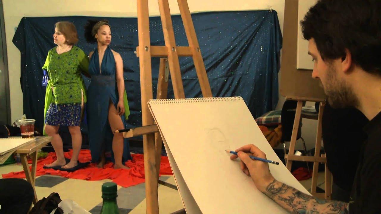 Nuit blanche 2011 Atelier de modèles vivants : des femmes la nuit - YouTube