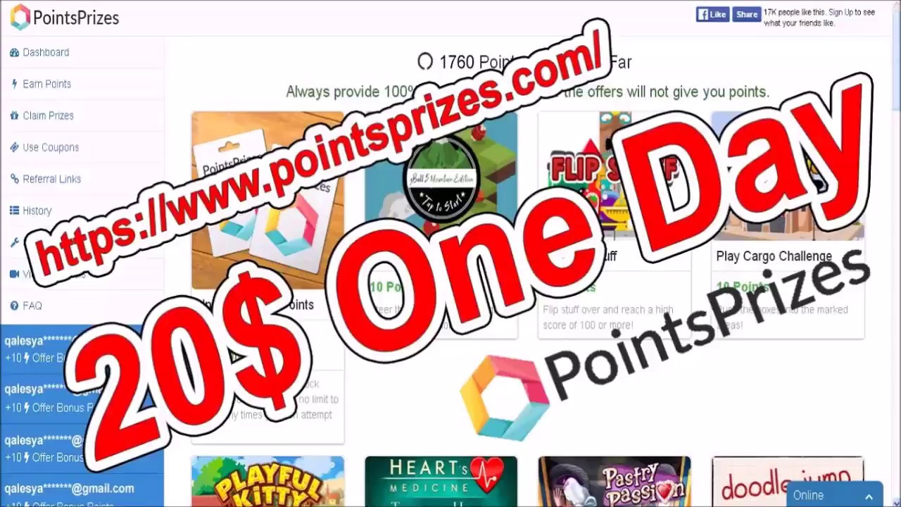 Coupons for pointsprizes
