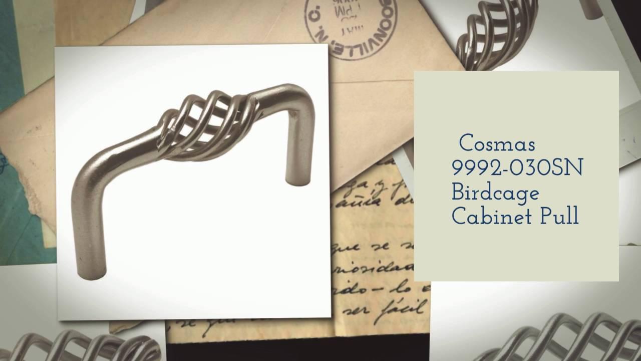 Cosmas Cabinet Hardware Satin Nickel Birdcage Handle Pulls #9992-128SN