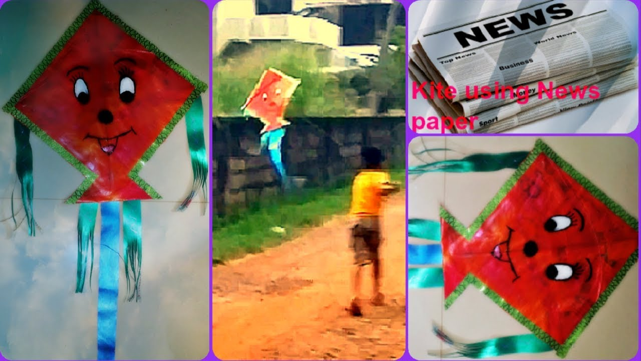 How to make simple and easy Kite using Newspaper and fly a kite || Makar Sankranti/Pongal Special #1