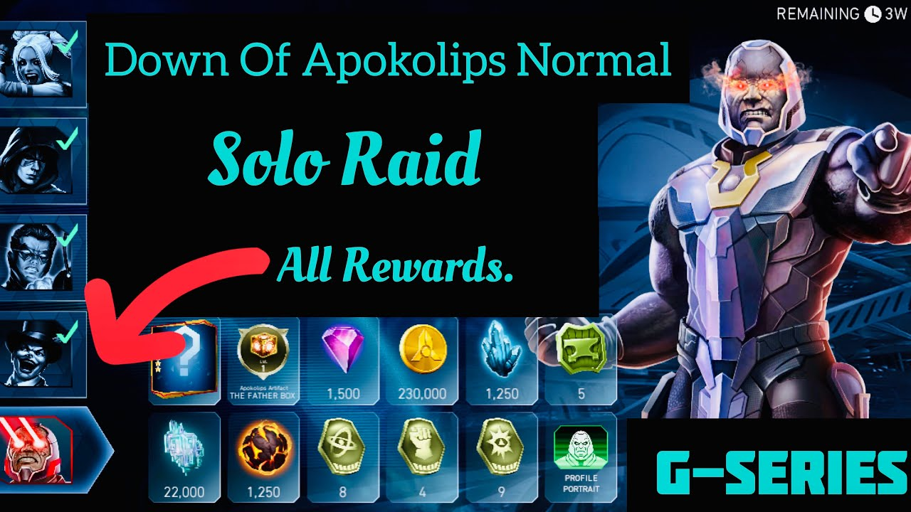 Solo Raid All  Battles rewards | Down of Apokolips Normal Battle Rewards | Injustice 2 Mobile
