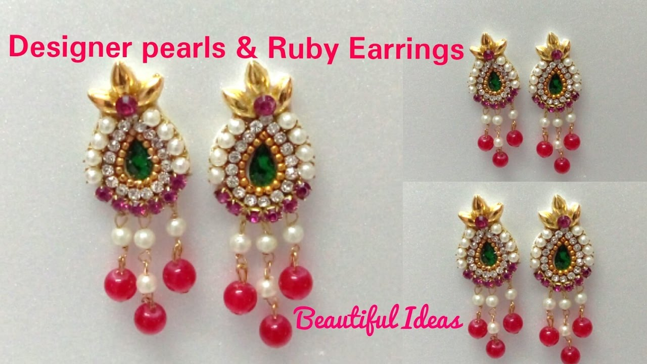 DIY/How to make Designer Pearls & Rubies Earrings Made Out Of Paper ...