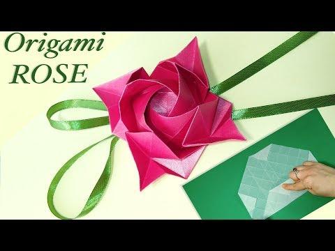 Origami ROSE (Kawasaki rose) REALLY EASY origami tutorial. Handmade gifts ideas.