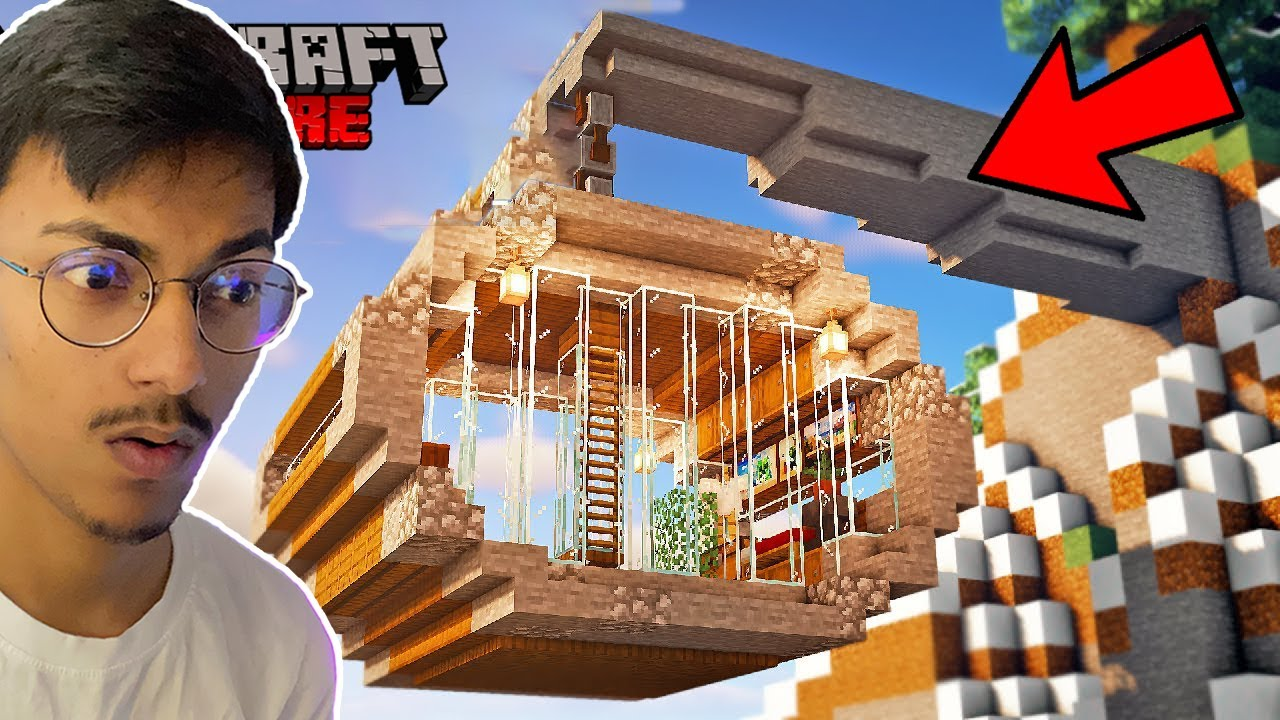 Creating ULTIMATE HANGING HOUSE In Minecraft Hardcore #9