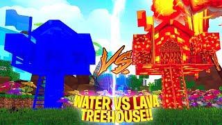 WATER TREE HOUSE VS LAVA TREE HOUSE!! Minecraft - Little Donny Build Battle Challenge