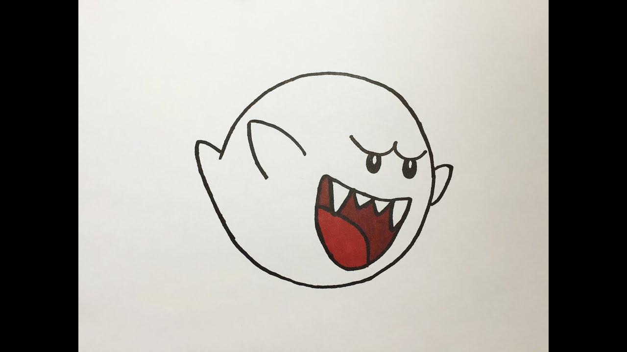 Dibujando A Boo Fantasma De Super Mario Drawing Boo Super Mario