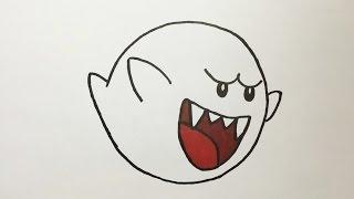 Dibujando a Boo Fantasma de Super Mario - Drawing Boo - Super Mario Bros Ghost