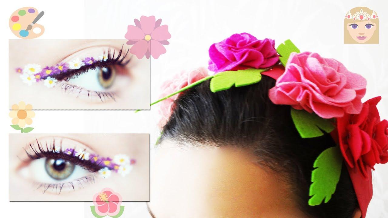 Flower Eyes MakeUp & DIY Felt Flower Headband How to make Flower Crown