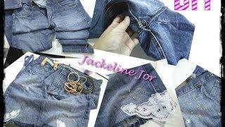 Transforme calça jeans usada em saias customizadas por Jackeline Jor