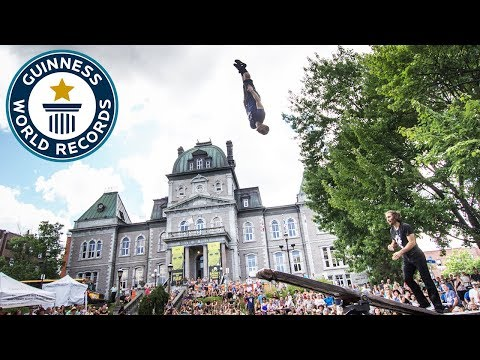 Acrobats set back flips record on teeter-totter - Guinness World Records