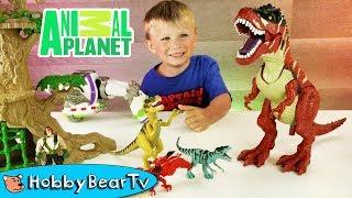 Animal Planet DINOSAUR Toys! Adventure Story Skit wHobbyDad and HobbyBearTV