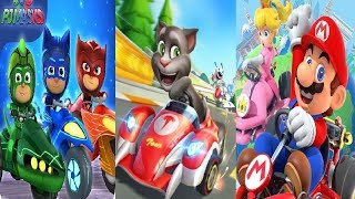 Mario Kart Tour  VS Talking Tom Karting  VS PJ Masks: Racing Heroes - Catboy, Owlette and Gekko-