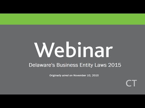 Delaware's Business Entity Laws 2015