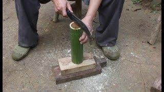 农村爷爷制作竹刷子,天然环保不花钱,很多人想要
