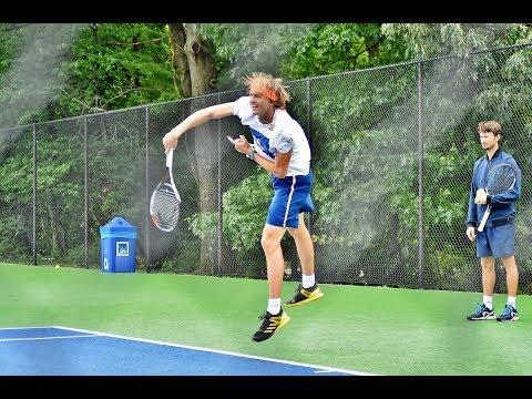 Alexander SASCHA ZVEREV slow motion SERVE & FH 🎾 Incredible ATP Court practice ☔️ HEAVY RAIN 🐼 (HD)