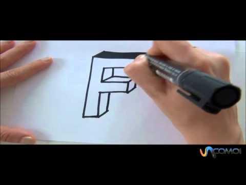 Cómo hacer la letra F en 3D - How to make the letter F in 3D