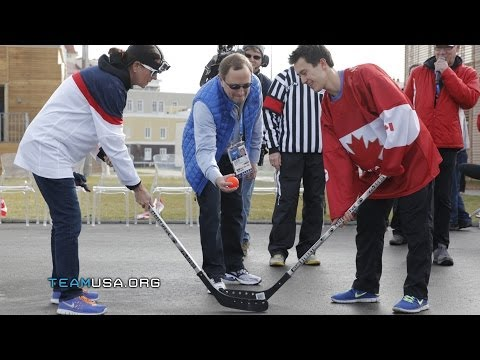 USA House Vs Canada House In Street Hockey Matchup | Team USA In Sochi