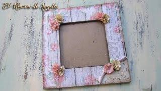Decoupage con papel de scrap para decorar un marco shabby chic- diy manualidades