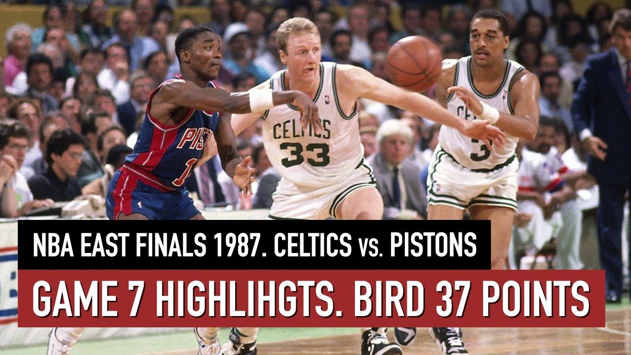 Throwback NBA East Finals 1987. Celtics vs Pistons Game 7 Full highlights. Bird 37 points  HD
