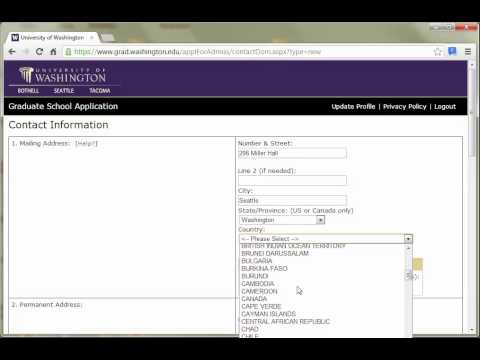 UW College Of Education Online Application Demo   Part 1   Setting Up Your Application Profile