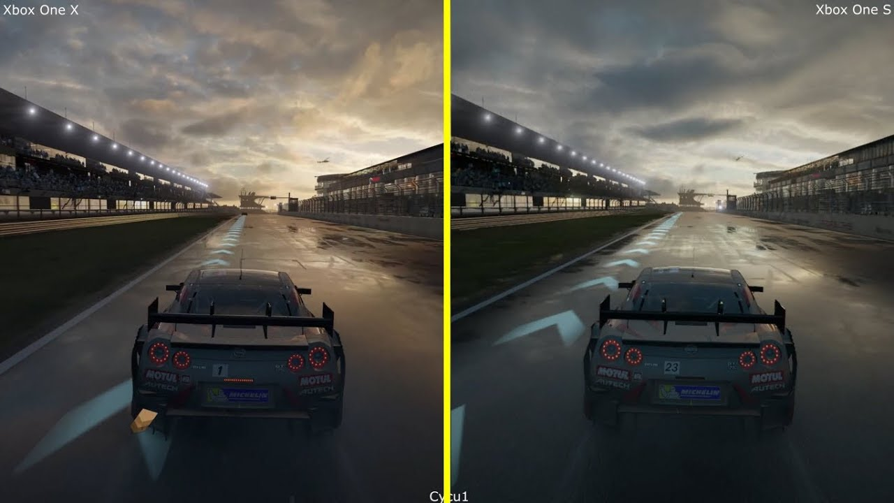 forza motorsport 7 xbox one s vs xbox one x graphics comparison nissan gt r n rburgring wet. Black Bedroom Furniture Sets. Home Design Ideas