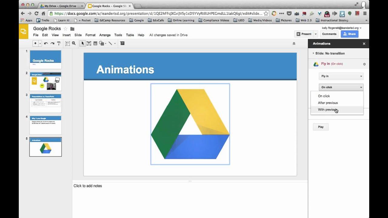 adding editing animations google presentations slides youtube