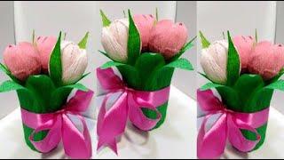 Подарочный Букет из Конфет на 8 МАРТА Своими руками.Поделки цветы из конфет на 14 февраля идеи.DIY.