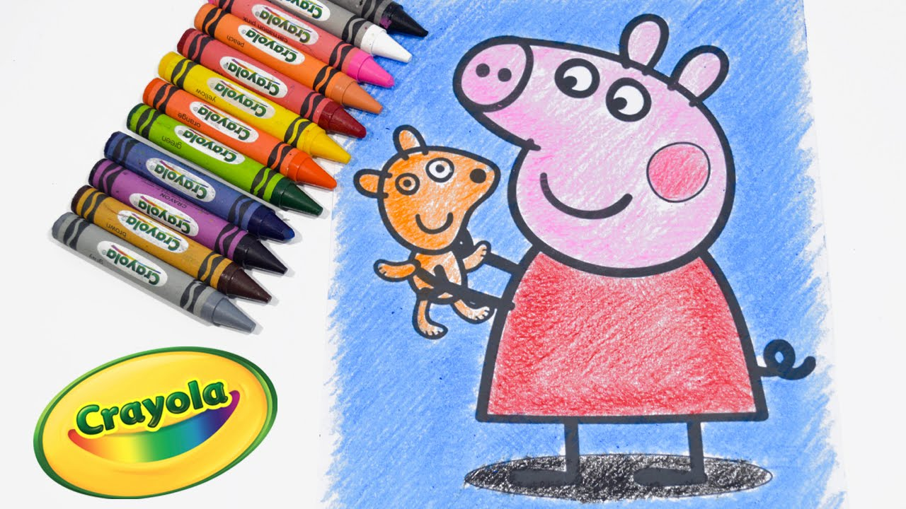 Peppa Pig Coloring Pages Coloring Book Learn Coloring Peppa Pig Using Crayola Crayons Rainbow Basic
