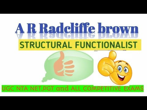 SOCIOLOGY FOR UGC NET+JRF,UPSCand All Exams//A R RADCLIFFE BROWN//STRUCTURAL FUNCTIONALIST//IN HINDI